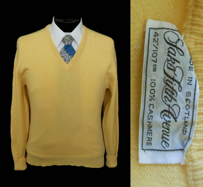 464ee4250e Vintage 80s Men's Yellow Cashmere Sweater, 1980s Saks Fifth Avenue Vee Neck  Pullover Jumper, Size Medium to Large
