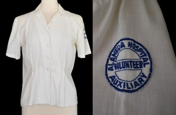 Vintage 40s Womens Work Shirt, 1940s Hospital Volu