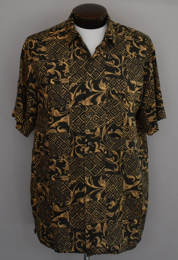 Tribal Print Silk Shirt, Vintage 90s Short Sleeve