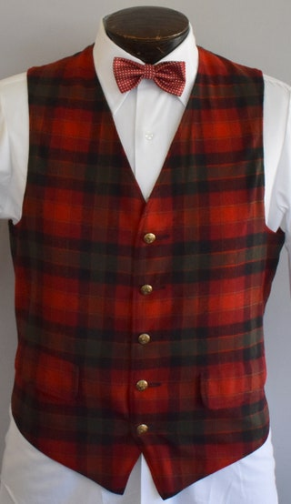 Pendleton Plaid Vest, 20s Style Mens Waistcoast, 1960s Button Front Vest, Red Grey and Black Tartan Plaid, Size Medium to Large