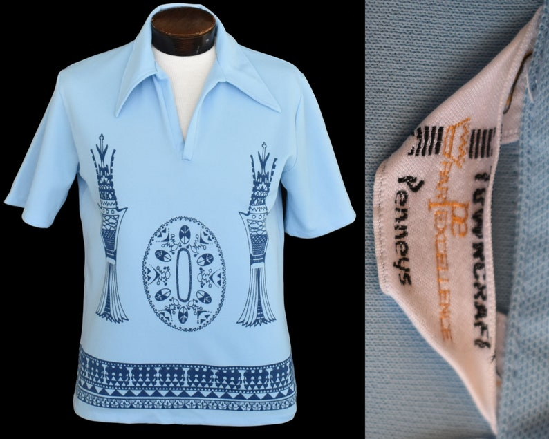 Size Medium to Large Johnny Collar Shirt Vintage 70s Chess Print Polo Shirt 1970s Mod Pullover Disco Shirt Hipster