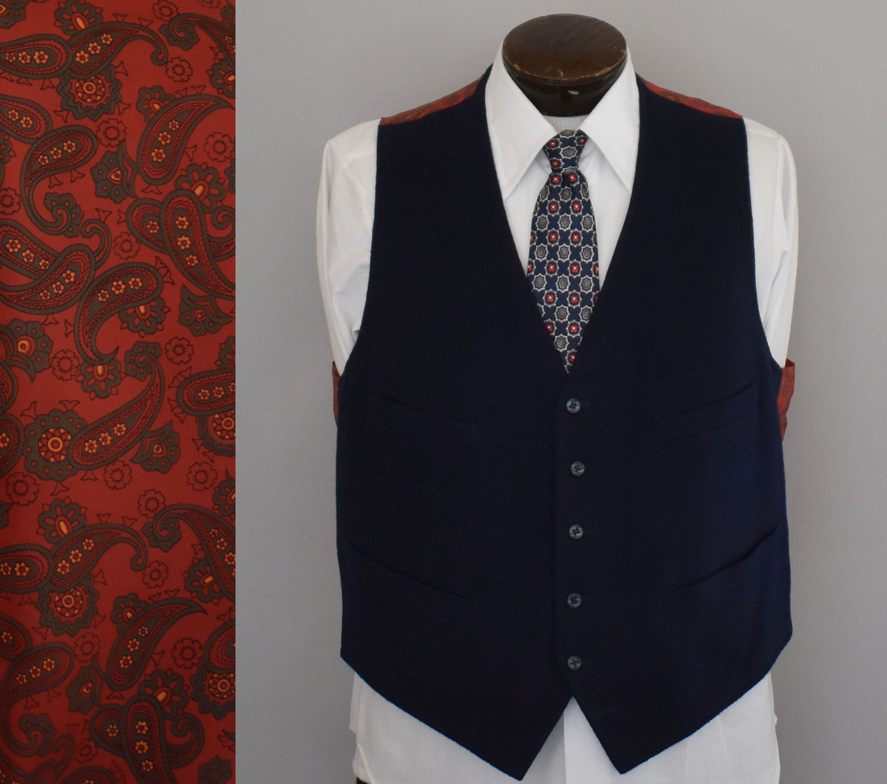 1960s – 70s Men's Ties | Skinny Ties, Slim Ties Navy Blue  Paisley Vest, 20S Style Mens Waistcoat, 1960S Hand Stitched Button Front Size Xl Extra Large $89.99 AT vintagedancer.com