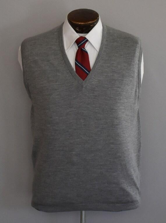 Vintage 60s Gray Sweater Vest, 1960s Mens Merino W