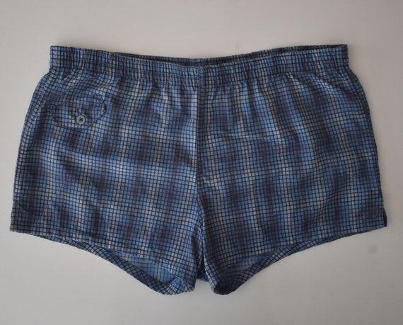 Plaid Mens Shorts, Vintage 70s Men's Medium Weight