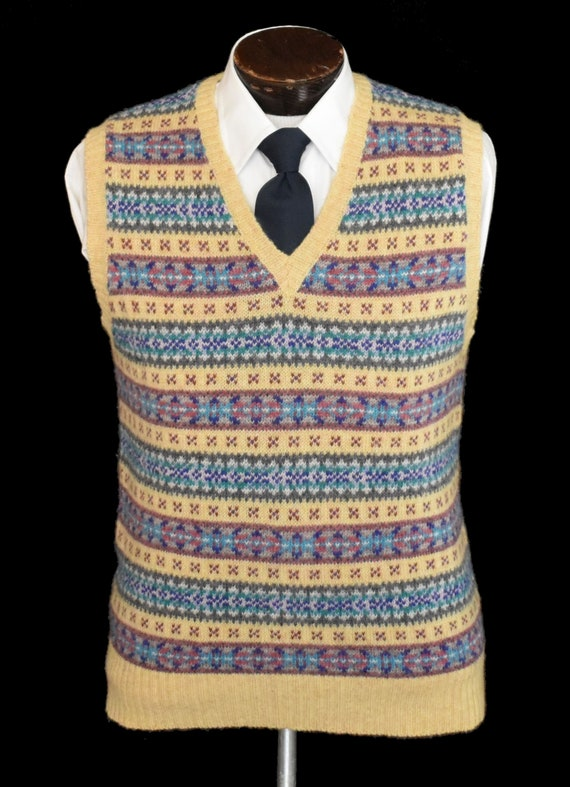 Fair Isle  Sweater Vest, Vintage 80s Chaps Pullove