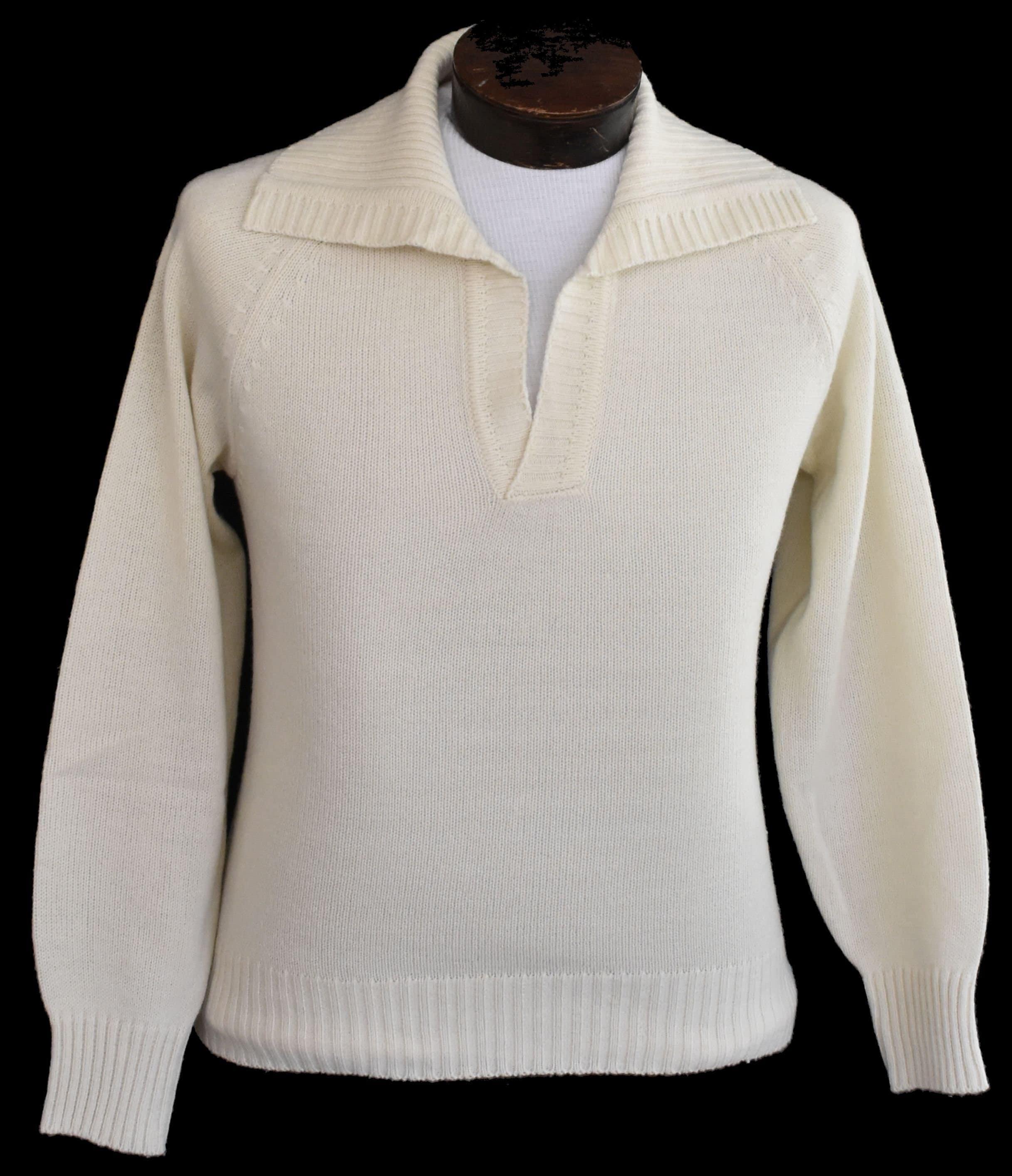Vintage Johnny Collar Sweater 60s Men Pullover Shirt 1960s Etsy