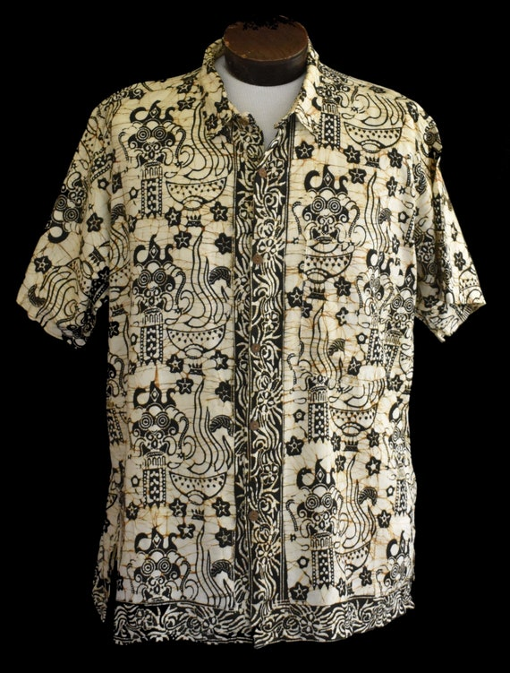 Mens Casual Tops Batik Buttons Oval Print Collared Shirt Cotton Top Club Wear