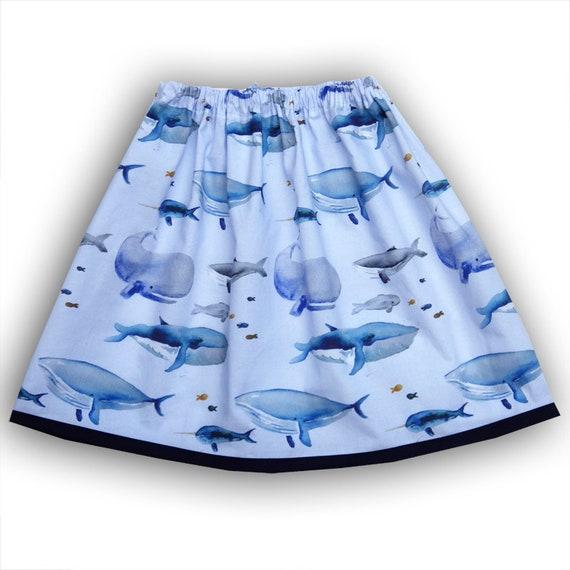 Girls Navy Fish Skirt Girls Whale Skirt Toddler Whale Skirt Toddler Under The Sea Skirt