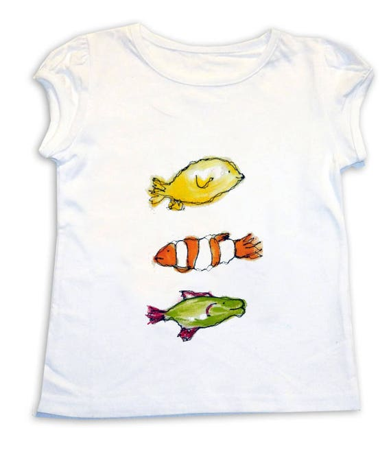 I love coeur poissons doigts T-shirt pour enfant rose