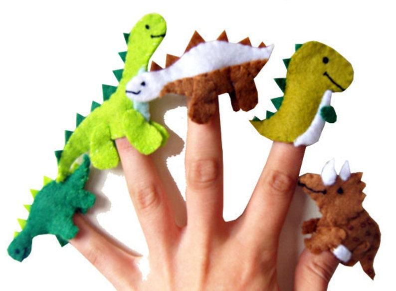 Dinosaur Finger Puppets / Kids Felt Puppet  5 / Boys Stocking image 0