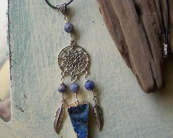 Aquamarine Blue Druzy Natural Stone Dream Catcher Necklace Magical