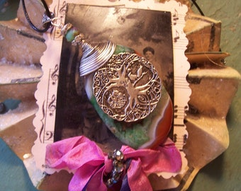 Large Tree of Life Coin Heavily Wrapped on a Green and Red Geode Agate Pendant Necklace