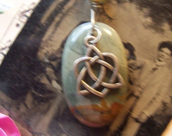 Natural Owyhee Jasper 48.25ct Pendant with Celtic Symbol Necklace