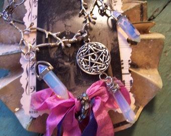 Milky White Opal Pentagram Witch Twig Necklace Boho Crystal Jewelry