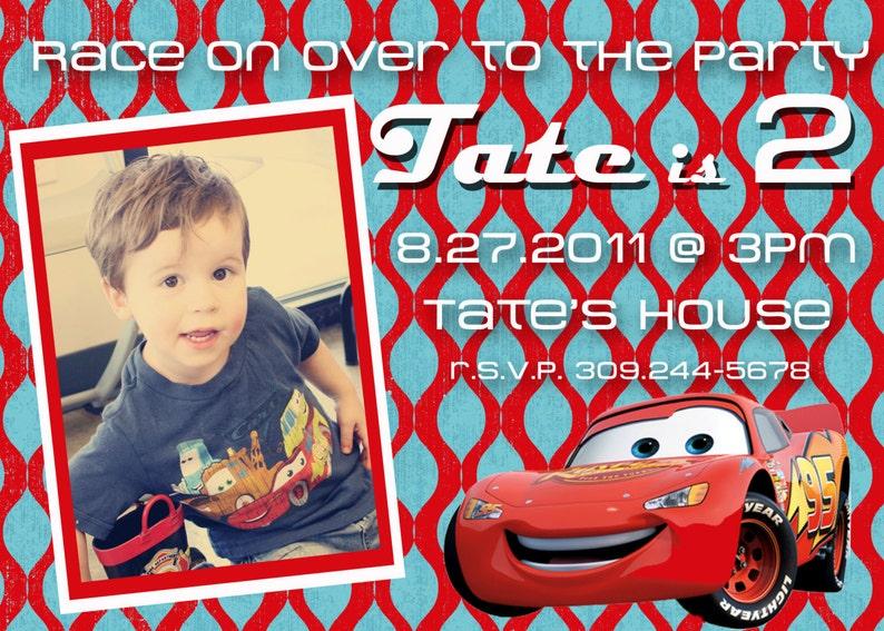 Disney Cars 2 Lightning McQueen Birthday Photo Invitation 5x7