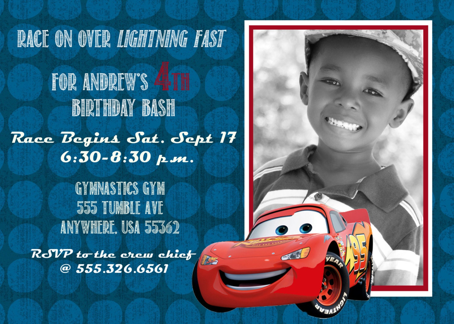 Disney Cars 2 Lightning McQueen Birthday Invitation 5x7