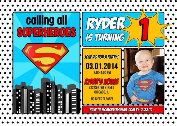 Superman Superhero Birthday Invitation 1st 2nd 3rd 4th