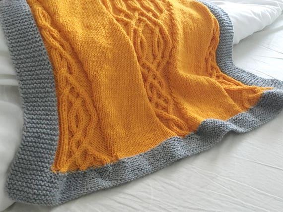 Braided Blanket Knitting Pattern Cable Design Celtic Aran Etsy