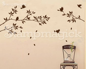 Tree Branch Birds Wall Decal Stickers - branch decal - tree decal - home decor nursery tree - K021