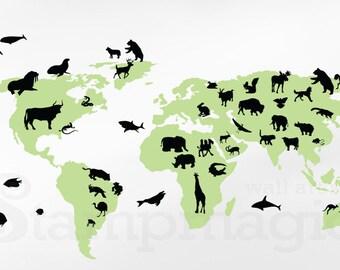 World Map Wall Decal World Map Decal Vinyl Wall Art Mural