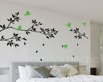 Tree Branches Wall Decal with Birds - Branch Decal - Home Decor - Vinyl Wall Art - K021B