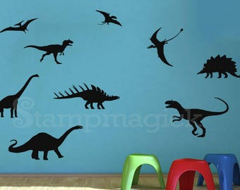 Dinosaurs Wall Decal for Nursery -  Prehistoric Jurrasic Period Dinosaur Decal Stickers - Dinosaur Wall Art Baby Wall Decor Boys room - K444