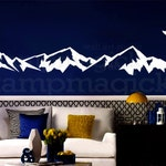Wide Mountain Range Wall Decal - Mountain Wall Art - hill landscape nature home decor vinyl sticker - white or choose color - K409