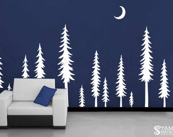 Pine Tree  Forest Wall Decal - Pine Trees Night Scene Wall Art - Moon Landscape Scenery Vinyl Christmas Tree Sticker Home Decor  - K438