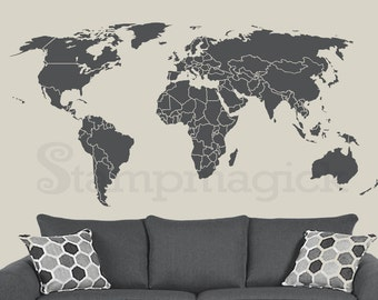 Vinyl wall decals for nursery home and office by stampmagick world map wall decal countries border wall art sticker boundaries outline vinyl or chalkboard black white board k295 gumiabroncs Choice Image