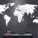 World Map Countries Wall Decal - World Map Decal - country boundaries borders outline matt vinyl chalkboard sticker - K295W