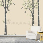 Birch Trees Wall Decal - birch trees forest scene decal - birch forest wall decal decor vinyl sticker home - K109