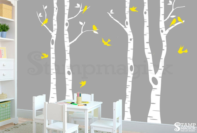 Birch Trees Wall Decal for Baby Nursery  Tree Forest Scenery image 0