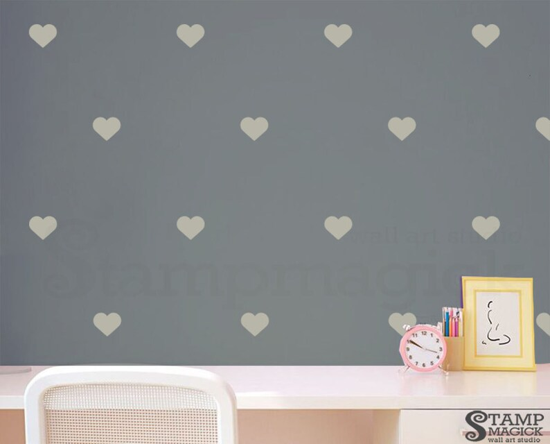 K306 Pattern Graphics Wall Decor Wallpaper Effect 3 Hearts Wall Decal Pink or choose color Heart vinyl stickers Wall Stencil
