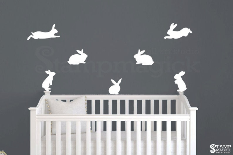 Bunnies  Wall Decal Stickers for Baby Nursery  black or image 0