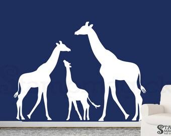 White Giraffe Wall Decal for Baby Nursery - white or choose color - Vinyl Wall Art Decor Sticker Home Children Bedroom - K348