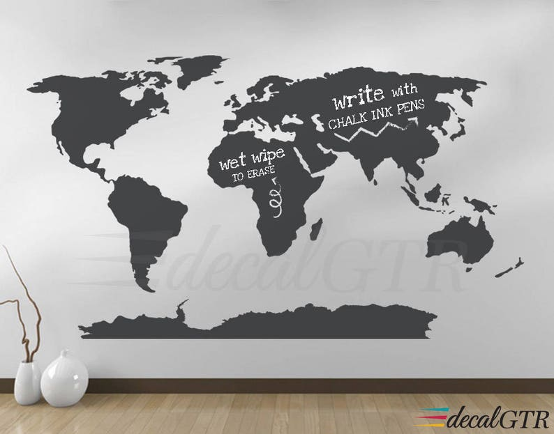 world map wall decal with antarctica world map wall art | etsy
