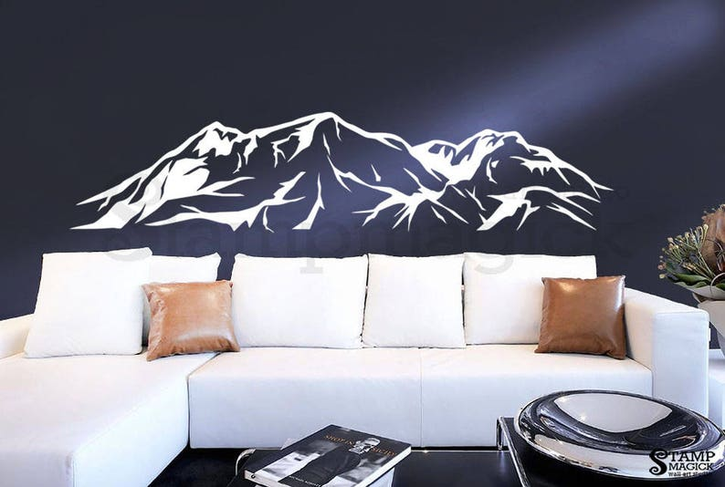 Mountain Wall Decal  Snowy Mountain Range Wall Art  Hills image 0