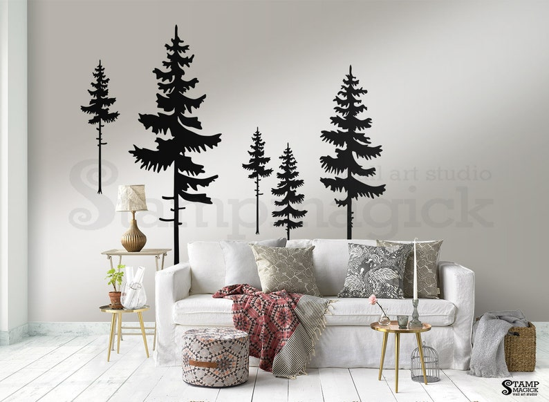 Pine Trees Wall Decal  Pine Tree Forest Wall Art  Nature image 0