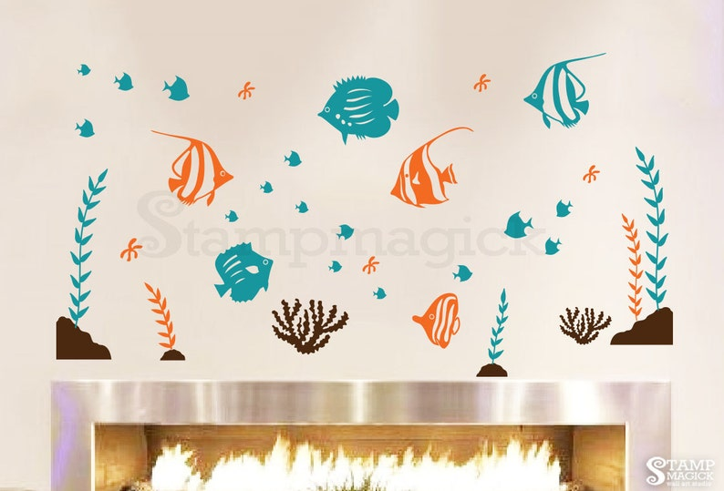 Fish Wall Decal  Sea Vinyl Wall Decor Nursery Graphics Under image 0