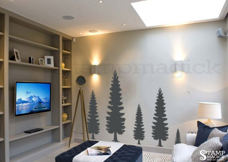 Pine Tree Wall Decal  Pine Forest Wall Art  Vinyl Christmas image 0