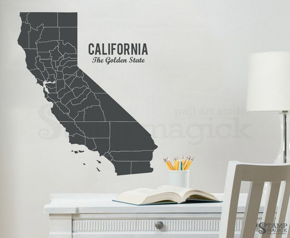California Map Wall Decal Map Decal State Of California Etsy