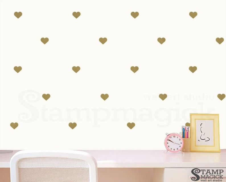 Metallic Gold Heart vinyl wall decal decor  2 or image 0