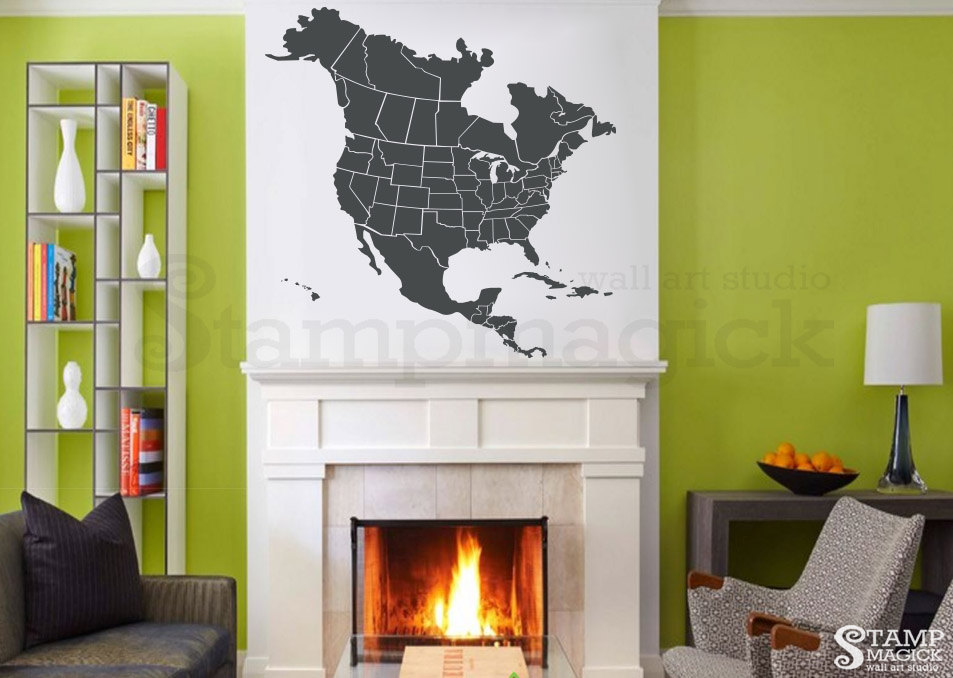 North America Map Decal United States Usa Us Map Wall Decal Etsy