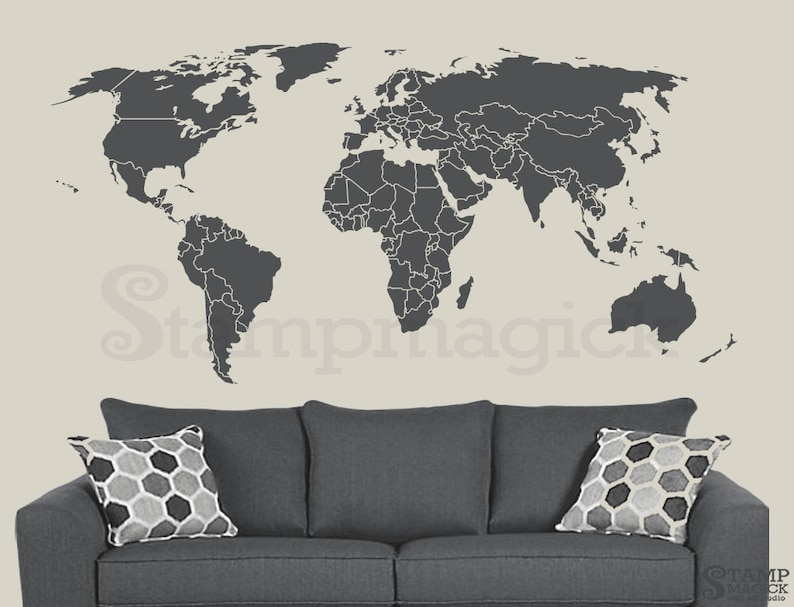 World Map Wall Decal  Countries Border Wall Art Sticker  image 0