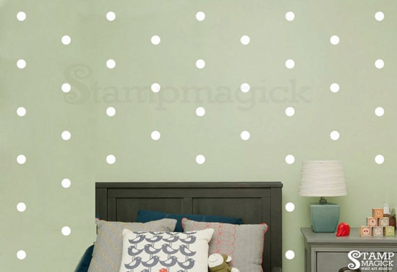 2 Polka Dots Wall Decal White Or Choose Color Etsy