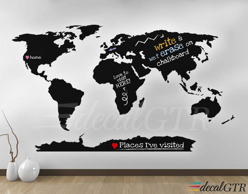 World Map Wall Decal with Antarctica  World Map Wall Art image 0