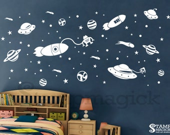 Outer Space Wall Decal - Rocket Planets Vinyl Stickers for Children's or Boy's Room or Baby's Nursery - stars UFO - K321