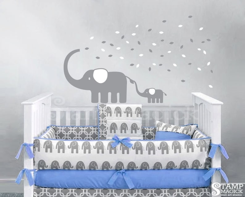 Elephant Wall Decal for Nursery  Elephant Decal Blowing image 0