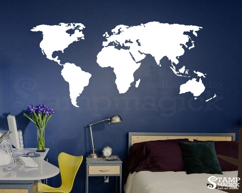 World Map Wall Art Stickers.World Map Wall Decal For Home Or Office Chalkboard White Etsy