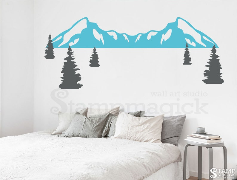 Pine Trees Wall Decal Mountain Range Wall Decal Nursery Snow Mountains Vinyl Wall Art Mountain Scenery Hill Landscape Decor Sticker K408